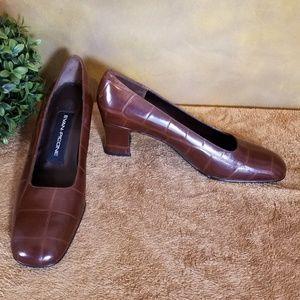 VTG! NEW! Evan Picone Brown Alligator Print Shoes